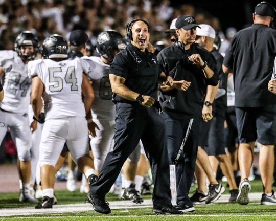 Plymouth hired Greg Souldourian as its new head football coach. He's pictured here on the sidelines during Plymouth's 2019 win over Canton.