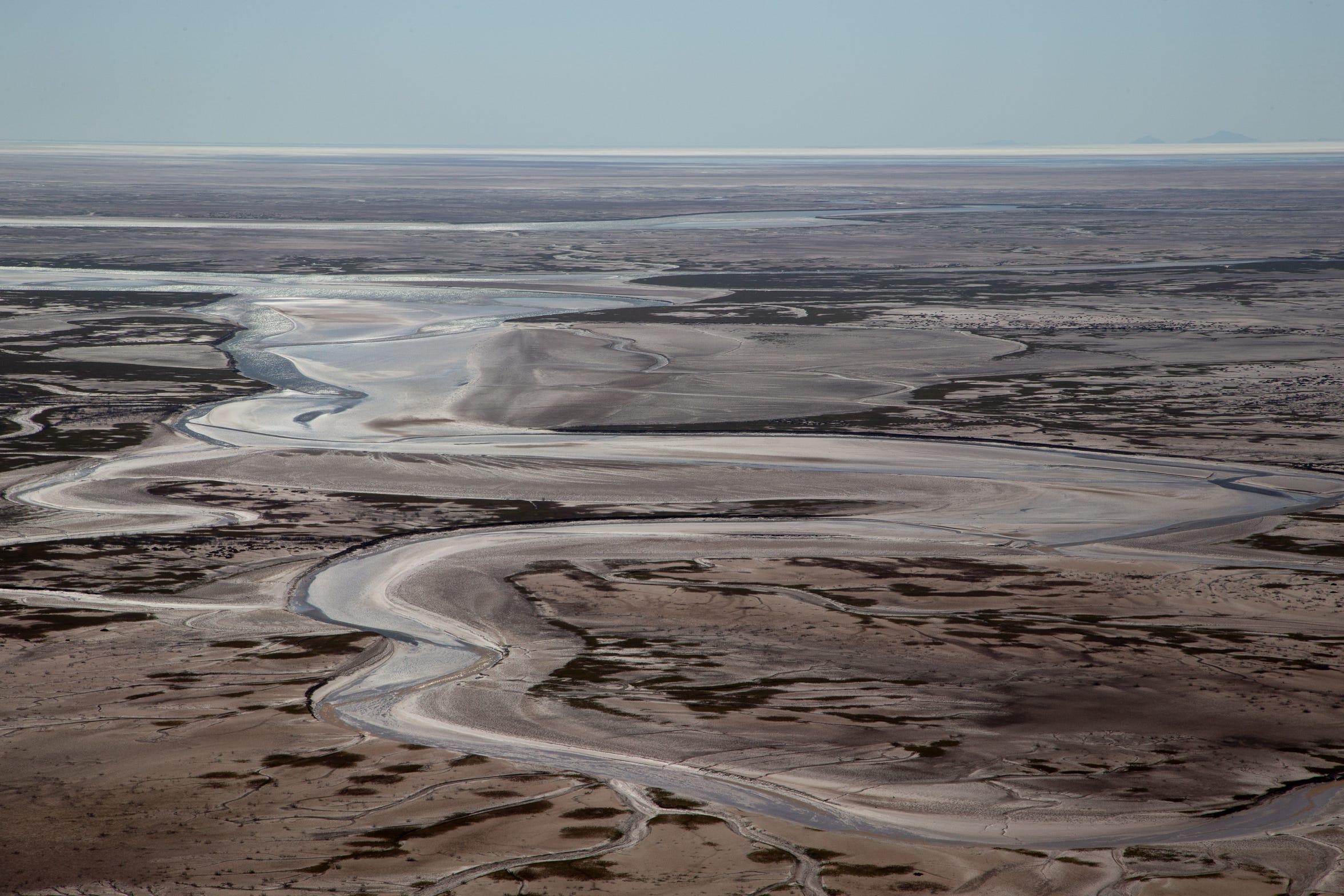 El canal de marea del Delta del Río Colorado se extiende cerca del Golfo de California en México.