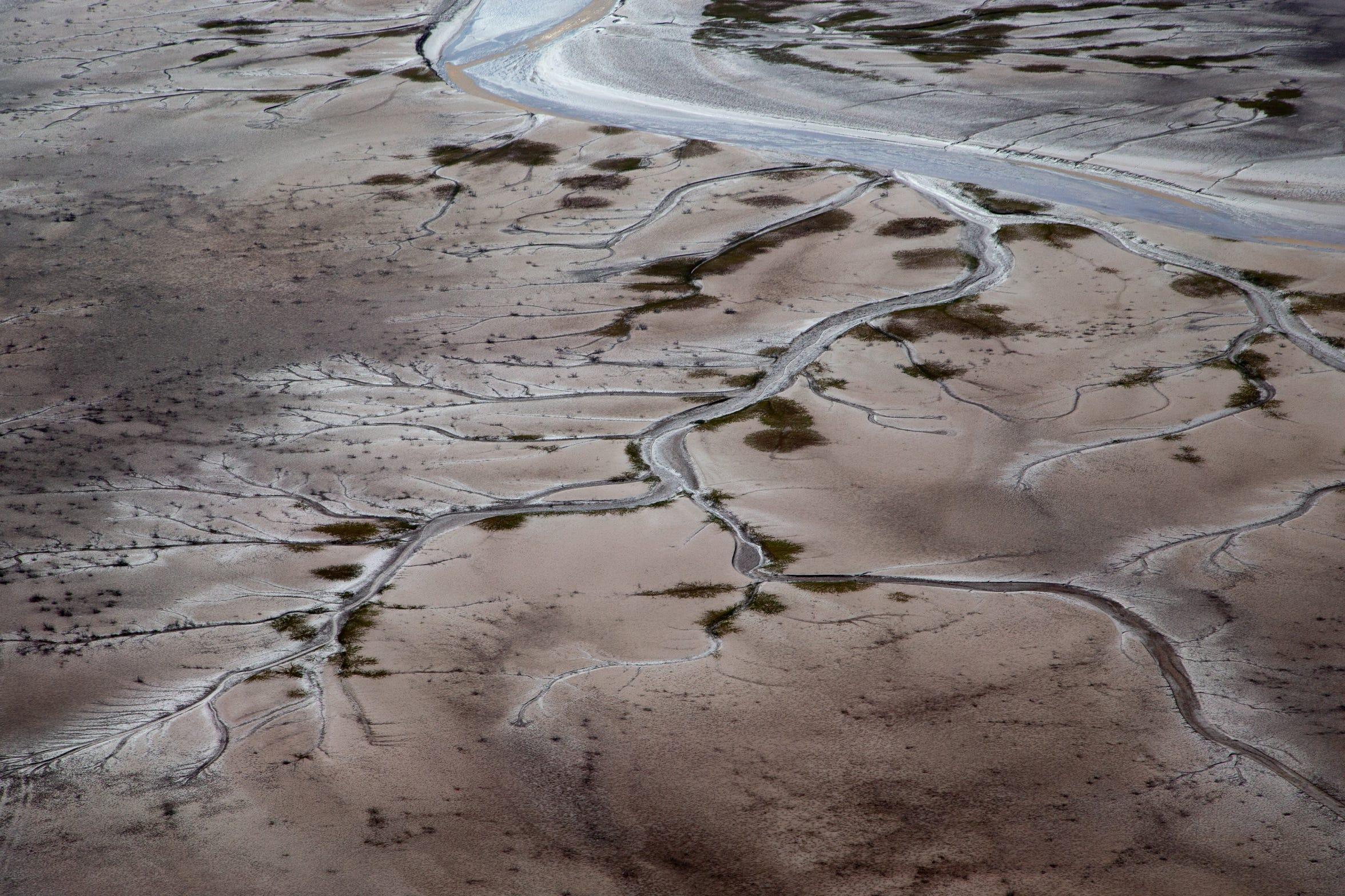 Los patrones formados por las mareas están grabados en el Delta del Río Colorado en México.
