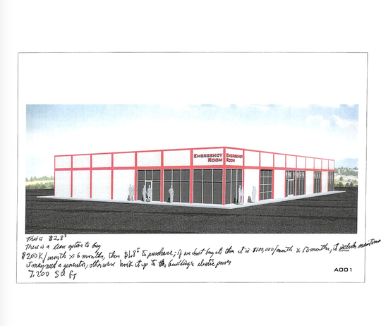 The 7,200-square-foot alternate care facility annex would allow for the addition of 30 hospital beds, according to renderings attached to the board of health's proposal.
