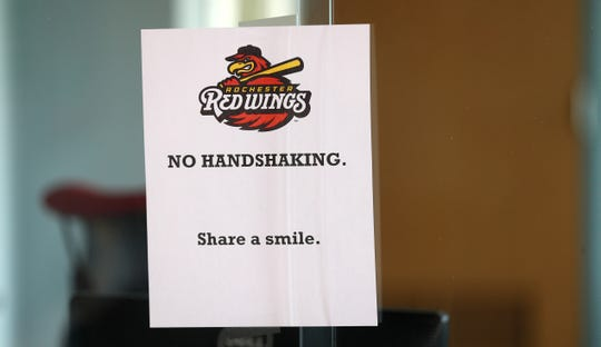 These signs were put up  all over the office area at Frontier Field prior to its closing due to the coronavirus outbreak.