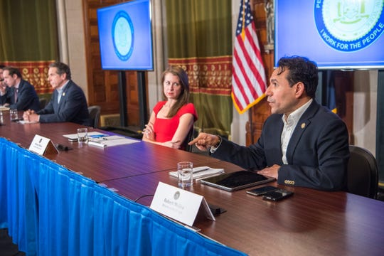 Robert Mujica, the New York State budget director, speaks during a coronavirus briefing at the state Capitol on Sunday, March 29, 2020.