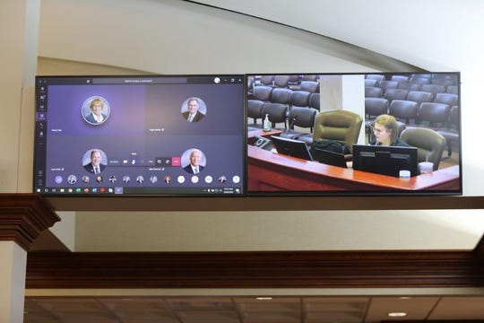 Legislators meet online for veto day at the Pierre capitol building on Monday.