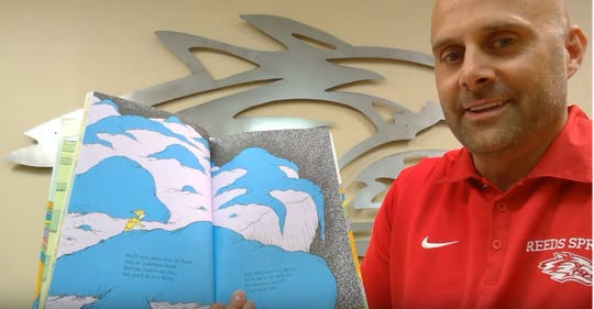 """Cody Hirschi, superintendent of Reeds Spring school district, started the first day by reading """"Oh The Places You'll Go"""" by Dr. Seuss."""