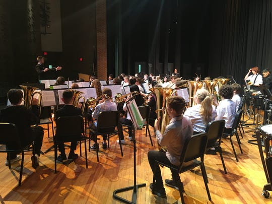 Shelburne Middle School's 7th Grade Band performing at the District Band Assessment at Broadway High School on March 12, 2020.