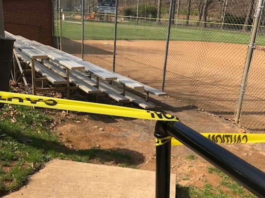 The  Kiwanis baseball field at  Gypsy Hill Park has caution tape across the steps in an effort to keep people off the fields.