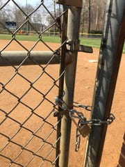 A chain has been put on the entrance to the  Kiwanis baseb all field at Gypsy Hill Park.