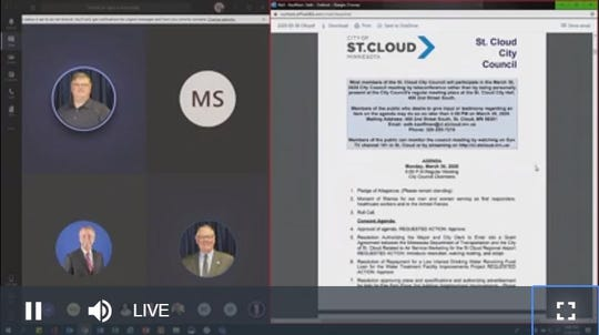 A screenshot shows the online streaming of the St. Cloud City Council meeting Monday, March 30, 2020.