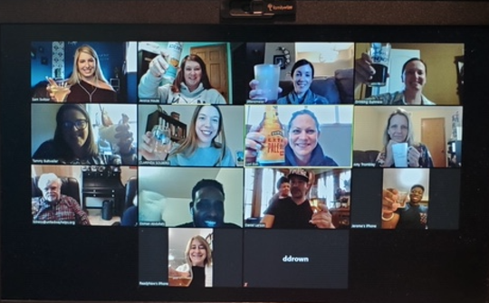 Staff with United Way of Central Minnesota enjoy a virtual happy hour.