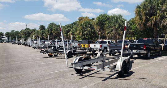 Monday, March 30, 2020, there were 117 boat trailers parked at Sandsprit Park in Stuart. Boat ramps were closed during the weekend.