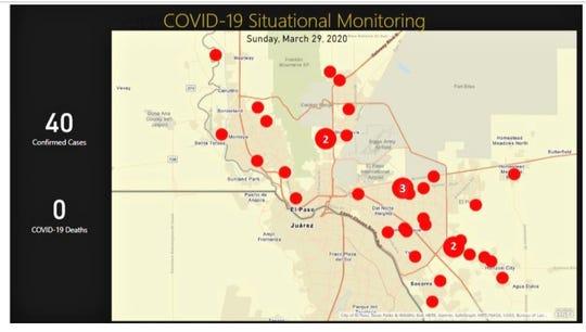 El Paso coronavirus case map as of March 29, 2020.