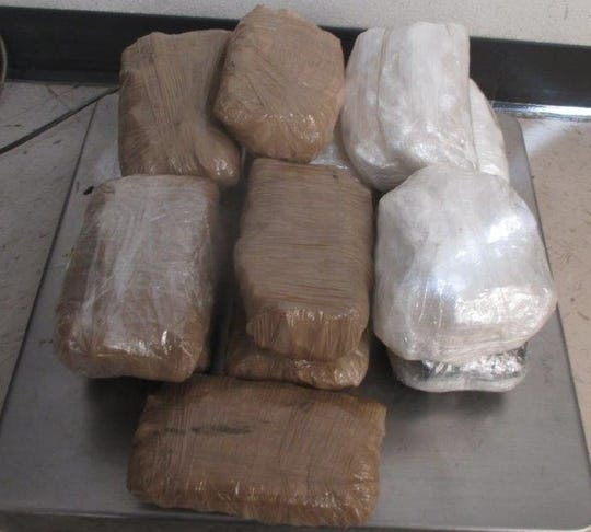 U.S. Customs and Border Protection officers seized 15 pounds of meth hidden in a car at the Zaragoza international bridge in El Paso on Sunday, March 29, 2020.