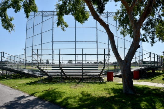 The baseball fields at Hueneme High School go unused on Monday as practices for sports have been canceled while school districts comply with social distancing standards related to the COVID-19 epidemic.