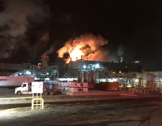A fire struck the Procter & Gamble paper products plant Monday in Oxnard.  Photo contributed by the Oxnard Fire Department