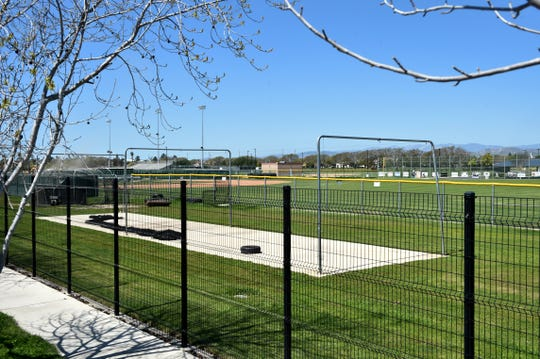 The baseball fields at Pacifica High School are empty on Monday since the season was halted because of the COVID-19 epidemic.