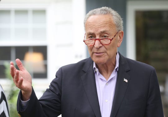 United States Senator Chuck Schumer talks about the SALT deduction issue and Trump tax cut bill, while standing in front of a home on Carolyn Avenue in White Plains Aug. 13, 2019.