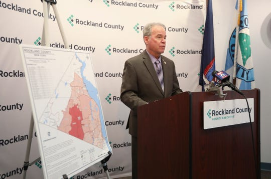 Rockland County Executive Ed Day gives an update on the number of confirmed cases of COVID-19 and their locations by zip code during a press conference at Rockland County Office Building in New City on Monday, March 30, 2020.