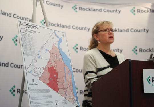 Rockland County Commissioner of Health Dr. Patricia Schnabel-Ruppert gives an update on the number of confirmed cases of COVID-19 and their locations by zip code during a press conference at Rockland County Office Building in New City on Monday, March 30, 2020.