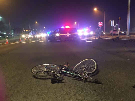A 51-year-old New Castle womanwas seriously injured Sunday evening after a Delaware City man who was driving a pickup truck hit her, Delaware State Police said.