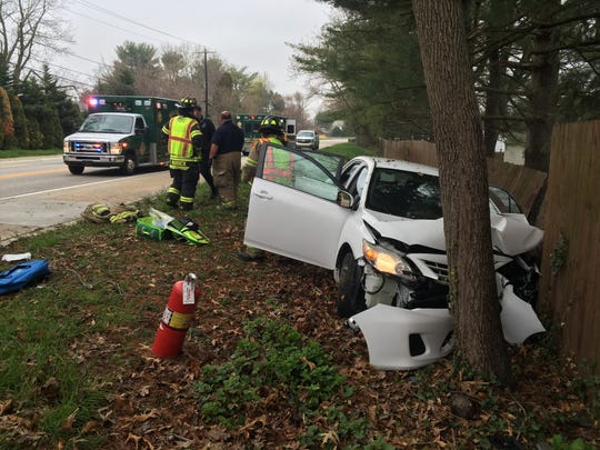 Police said two children and the driver of the car, a woman, were injured in a Monday morning wreck on Milltown Road.