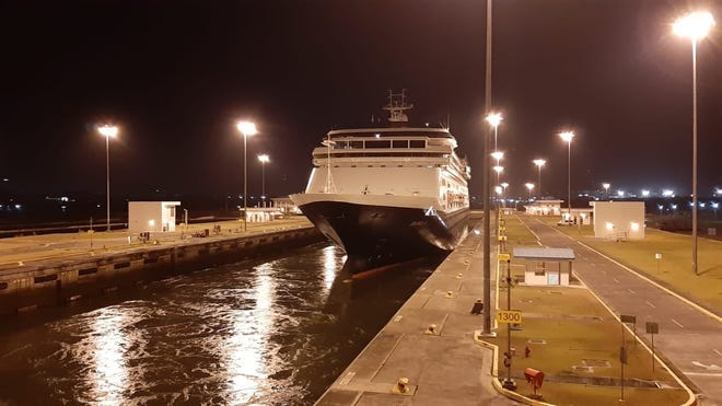Here's a look at Holland America's MS Zaandam in the Panama Canal.