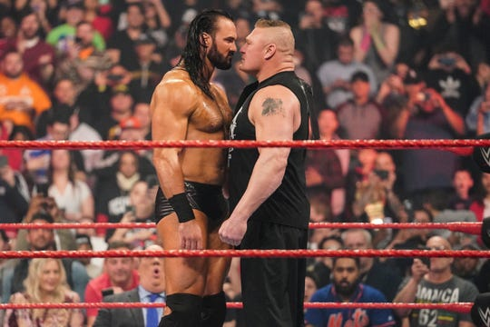 Drew McIntyre, left, will challenge Brock Lesnar for the WWE Championship at WrestleMania 36, streaming on Saturday, April 4 and Sunday, April 5 at on the WWE Network and available on pay-per-view.