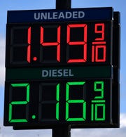 A gas sign on U.S. 351 across from Walmart Tuesday March 31, 2020.