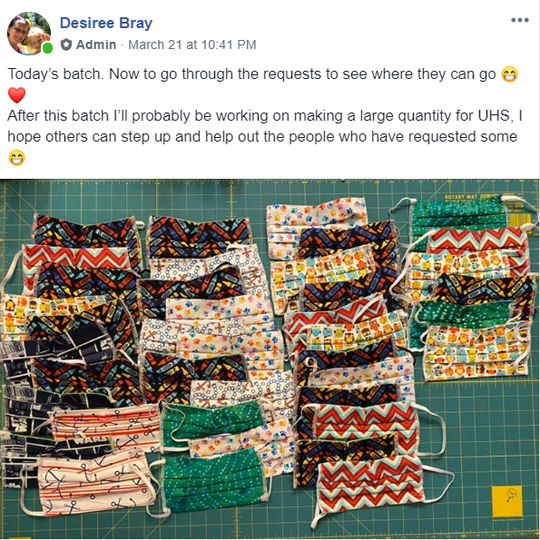 """Desiree Bray, the administrator of the """"Face masks for Broome County"""" Facebook group, has made over 200 masks for local healthcare workers."""