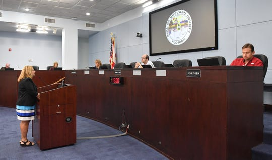 Three county commissioners were complying with social distancing guidelines on the dais at Tuesday's meeting. The two other commissioners were participating in the meeting by teleconference.
