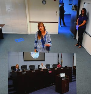 This split-screen image from the Space Coast Government Television shows Satellite Beach resident Kathy Smith addressing county commissioners from a meeting room in Building B of the Brevard County Government Center in Viera, as commissioners were meeting Tuesday in the County Commission Chambers in Building C. From left on the dais are Vice Chair Rita Pritchett, Chair Bryan Lober and Commissioner John Tobia.