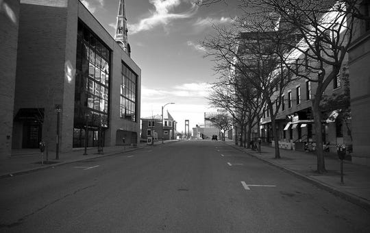 St. Paul Street, looking north from College Street, in downtown Burlington was empty Saturday afternoon, March 21, 2020. Most businesses were closed and many people stayed home to stem the spread of the new coronavirus during the COVID-19 outbreak. The photo was taken by Neil Brogan of Richmond.