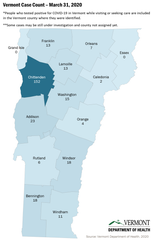 COVID-19 cases in Vermont as of 1 p.m. on March 31, 2020, broken down by county. Grand Isle and Essex counties both had reported no cases of COVID-19.