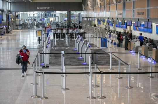 Austin-Bergstrom International Airport is nearly empty on Tuesday during the coronavirus pandemic.