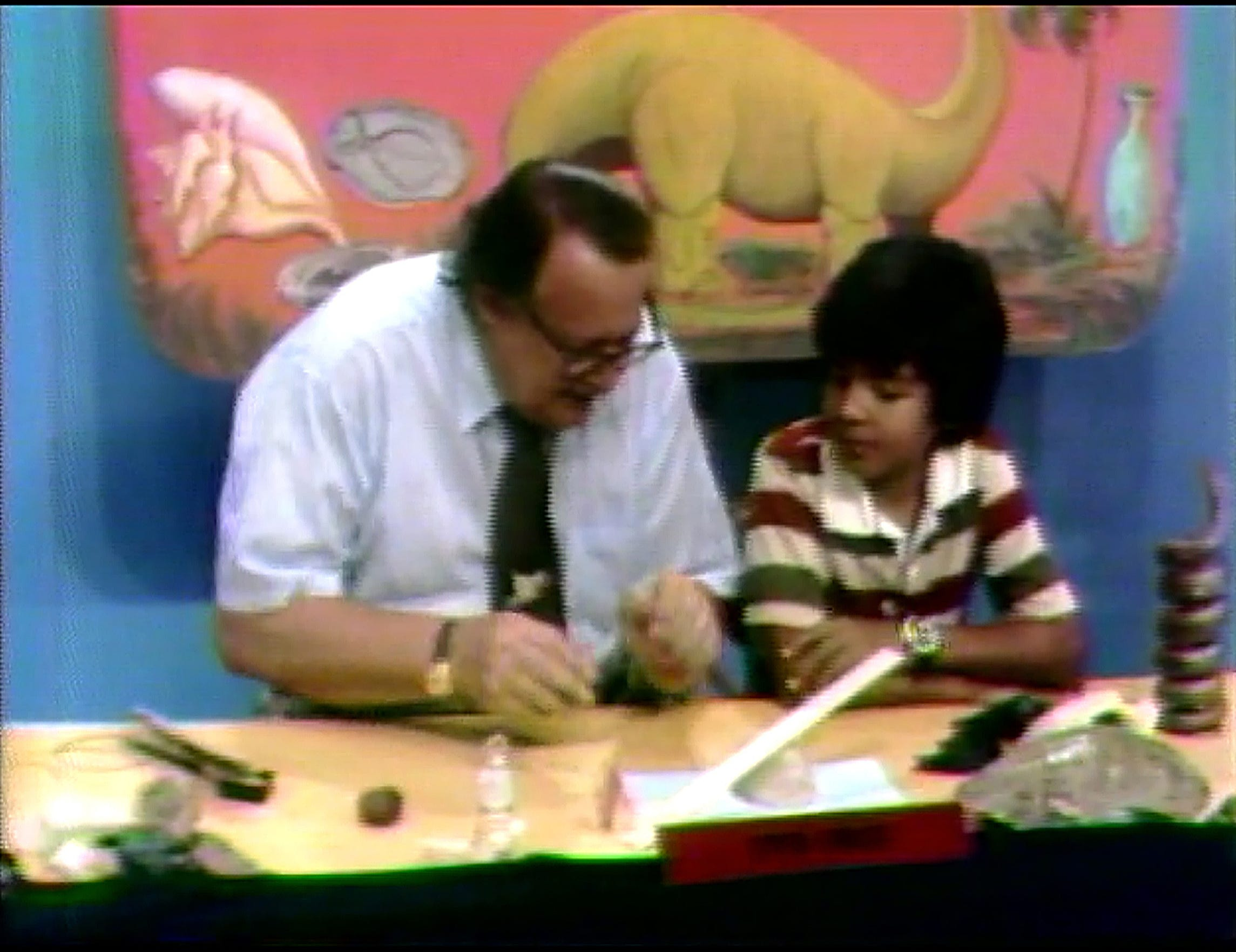 "Corpus Christi Museum director Aalbert Heine (left) with student guest Rene De Ases during an episode of the ""Corpus Christi Museum Open House"" that aired on KRIS-TV for more than 25 years."