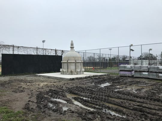 A spire that used to be atop Camden High School will be the main feature of a new sculpture and rain garden at the Camden County Historical Society.