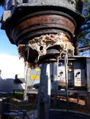 A pump clogged with wipes wrapped around the impeller is shown at a pumping station that is part of the Landis Sewerage Authority in Vineland.