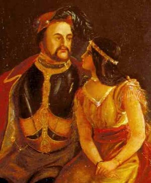 Detail of a painting of John Rolfe and Pocahontas.