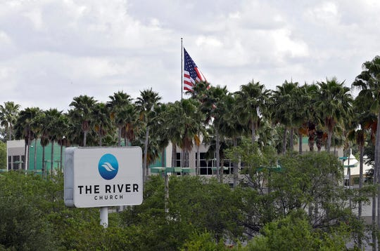 The River Church is shown Monday, March 30, 2020, in Tampa, Fla. The Hillsborough County Sheriff's Office has warned the megachurch about violating a safer-at-home order in place to limit the spread of coronavirus. The church is continuing to hold Sunday church services despite warnings for social distancing in order.