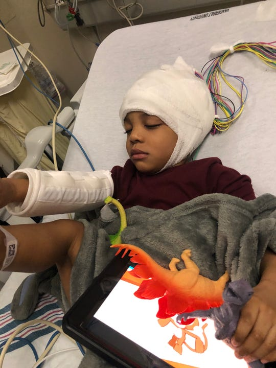 2-year-old Malakai Ayala at the children's clinic at Vanderbilt University Medical Center after having a seizure in Clarksville March 23., 2020.