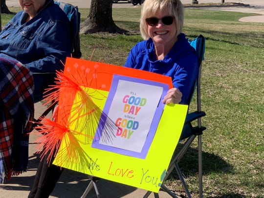 Jordan Creek employees shared the sunshine and smiles with students Monday, March 30, 2020.