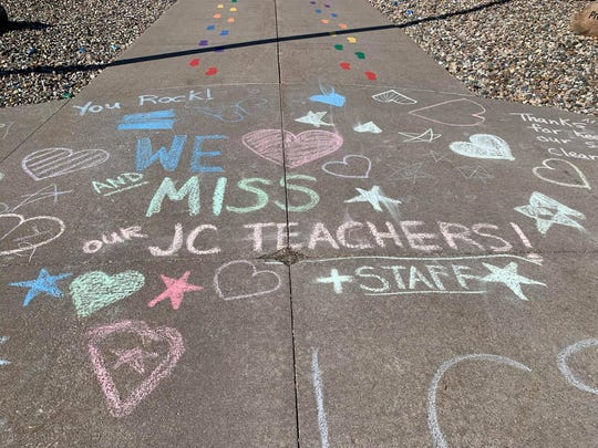 Jordan Creek Elementary students left behind love notes for the school's employees Monday, March 30, 2020.