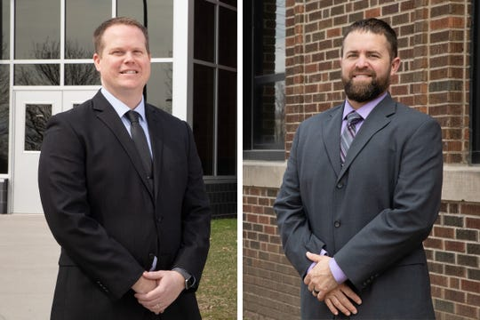 Jason Snow, left, and Christopher Schmit, both DMPS employees, move into new leadership roles this year. Snow will be the McCombs Middle School principal and Schmit will be the Harding Middle School principal. The Des Moines school district is hosting a virtual job fair during the month of April to fill several positions.