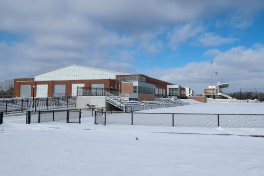 Indoor and outdoor track and field facility at the U-M Stephen M. Ross Athletic Campus Athletics South Competition and Performance Project in Ann Arbor, Thursday, January 4, 2018.