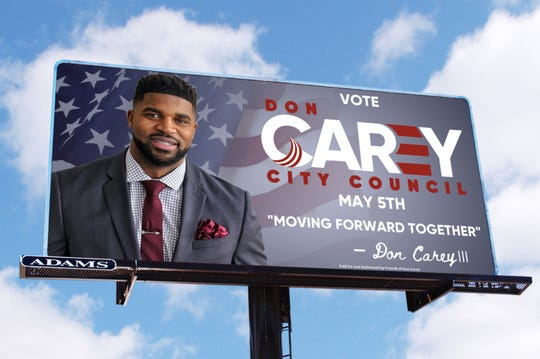 A billboard for former Lions defensive back Don Carey, who is running for City Council in Chesapeake, Virginia.
