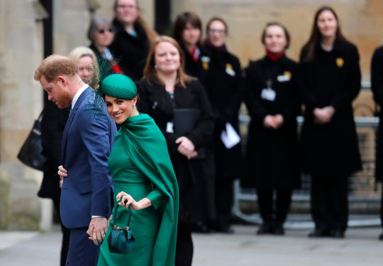 Britain's Prince Harry and Meghan, Duchess of Sussex arrive to attend the annual Commonwealth Day service at Westminster Abbey in London on March 9.