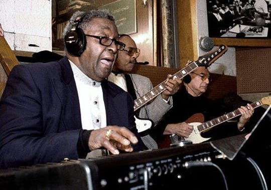 "Joe Hunter, Eddie Willis, and Joe Messina in ""Standing in the Shadows of Motown."""