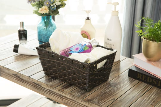 Organizing small baskets (like this one available at homedepot.com) can be a daily task to tackle during the stay-at-home order.