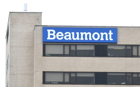 Exterior of Beaumont hospital in Royal Oak, Michigan on March 31, 2020.
