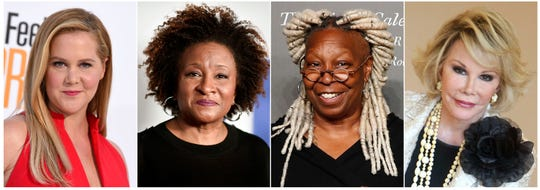 From left, Amy Schumer, Wanda Sykes, Whoopi Goldberg and Joan Rivers, whose comedy will be featured on a new SiriusXM comedy channel called She's So Funny debuting on April Fool's Day.