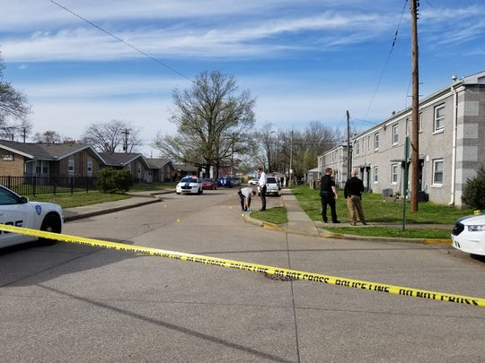 A woman received minor injuries in a drive-by shooting in the 1400 block of Dresden Street Monday afternoon.